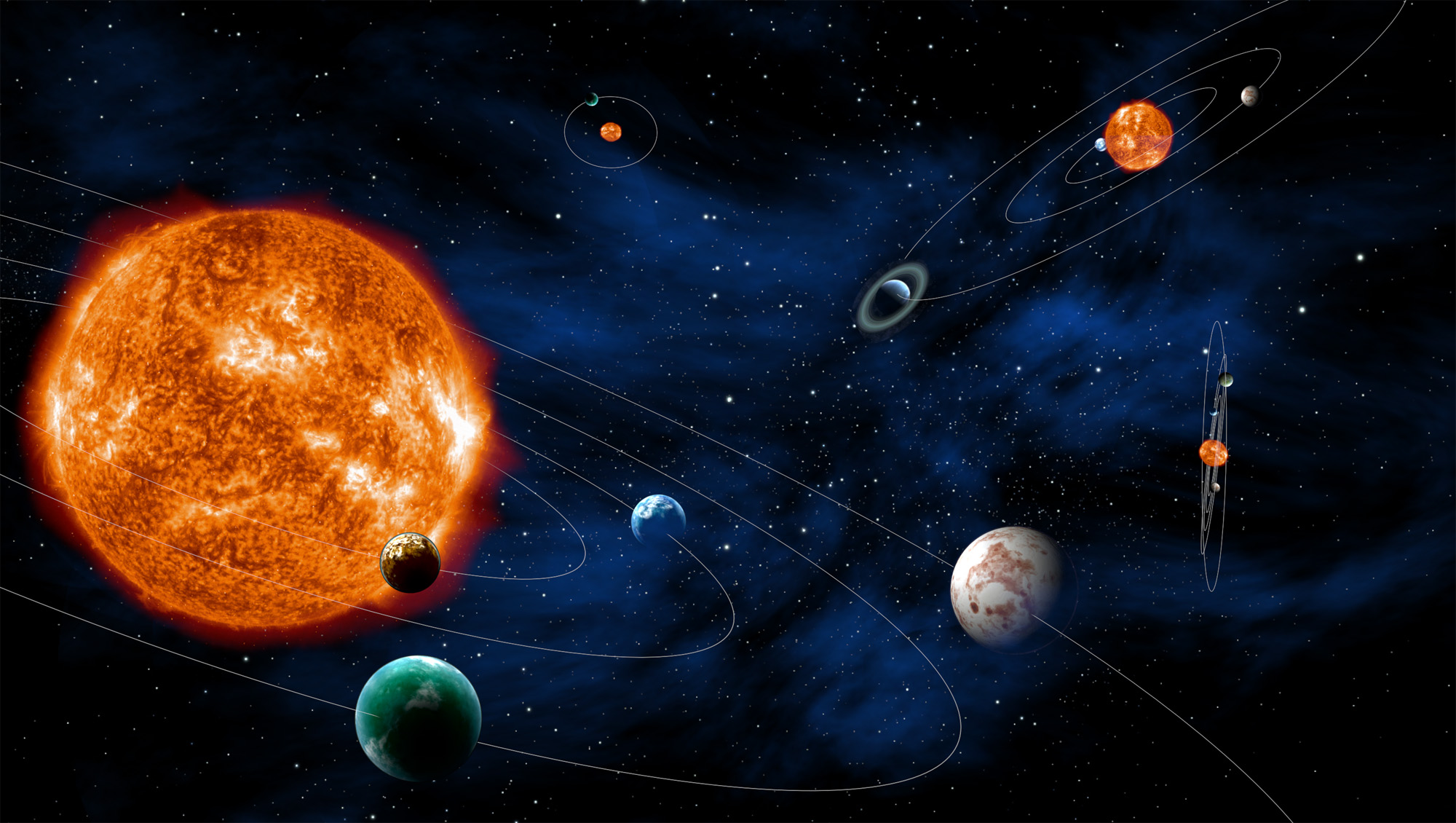 Artist impression van een exoplaneten bij hun ster.