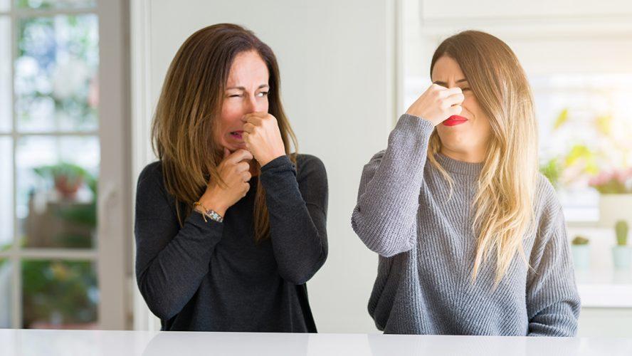 dwie kobiety siedzące przy stole zatykające nosy