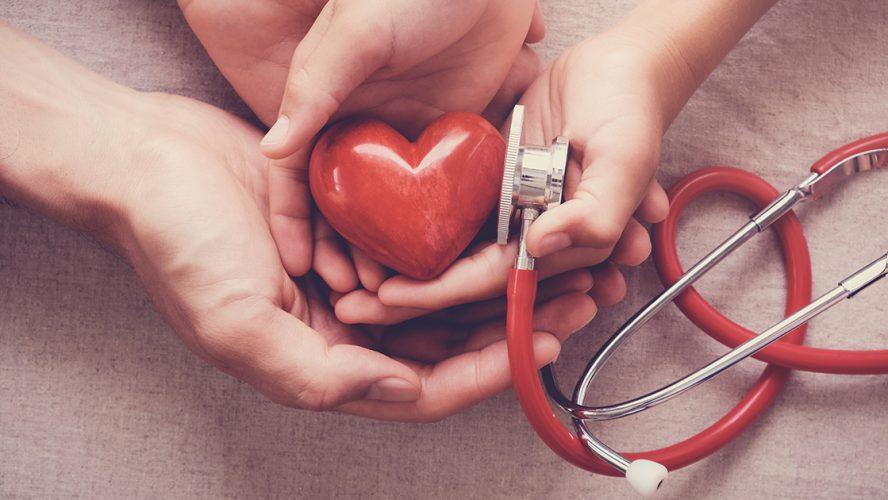 dwie pary dłoni trzymające serce i stetoskop