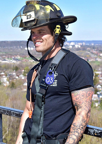 Kevin Wendt in his firefighter gear