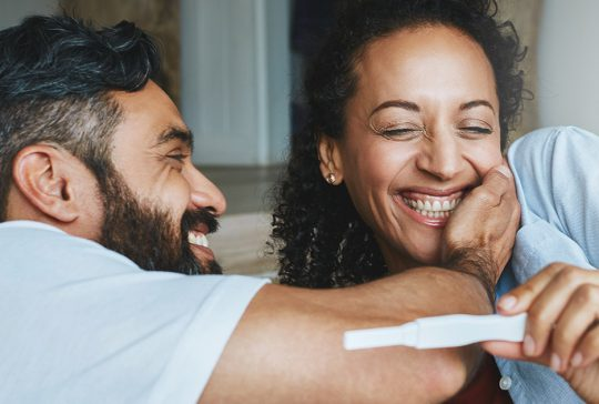 Couple thrilled about a pregnancy test
