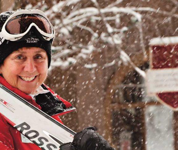 Nancy Greene Raine with skis
