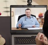 Patient receiving medial advice via a video call
