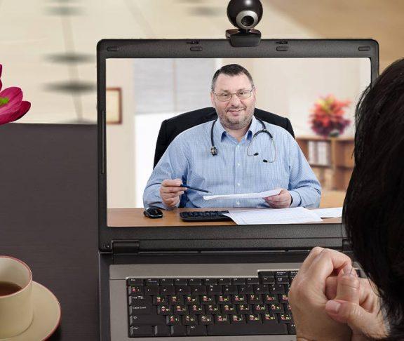 Patient receiving medial advice via a video call