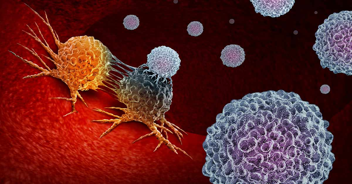 3D render of immunotherapy attacking cancer