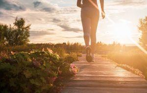 Running on the boardwalk at sunset