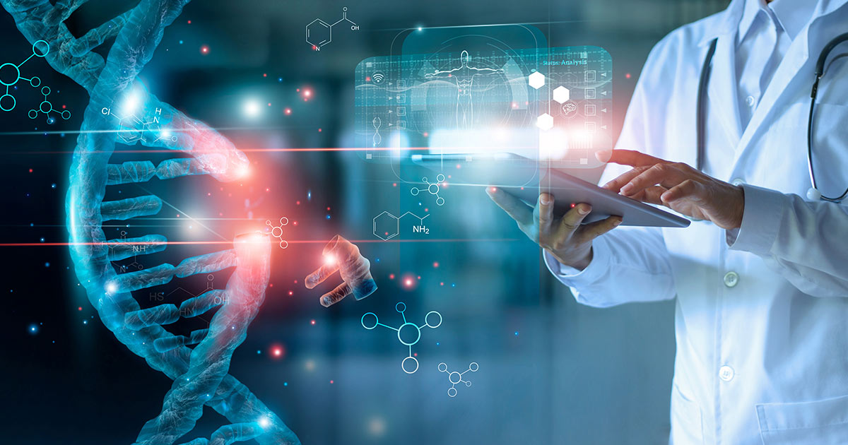 Abstract rendering of a doctor editing DNA on a tablet