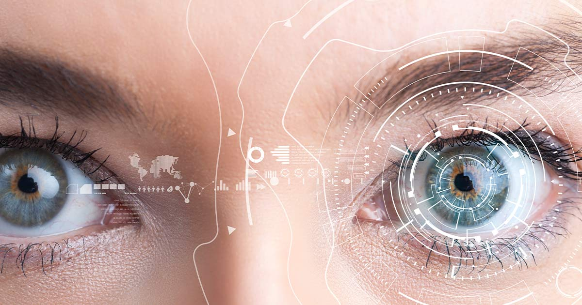 Closeup of eyes with technology illustrations overlaid
