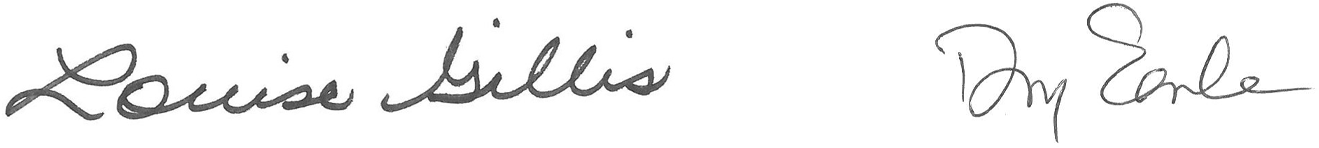 Louise Gillis and Doug Earle's signatures
