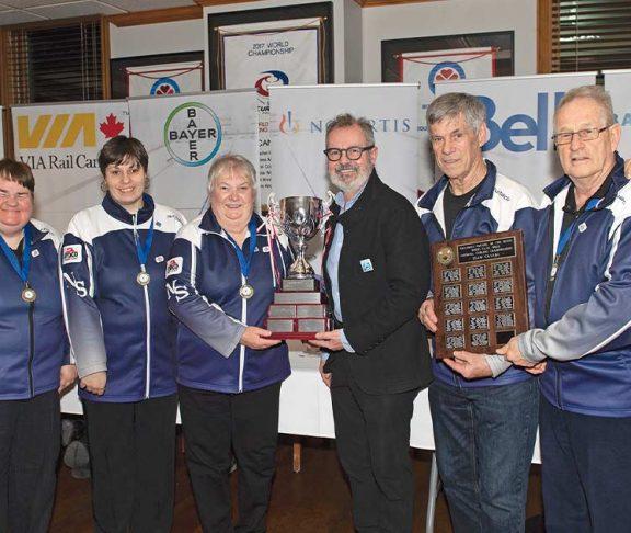 Team Nova Scotia receiving the 2019 Championship trophy