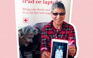 Connected Canadians member showing off her tablet skills