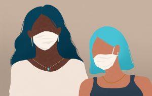 Illustration of two women wearing medical masks
