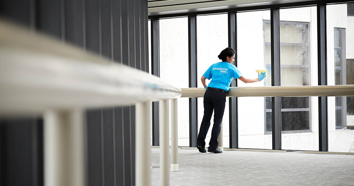 ServiceMaster Clean specialist disinfecting an office