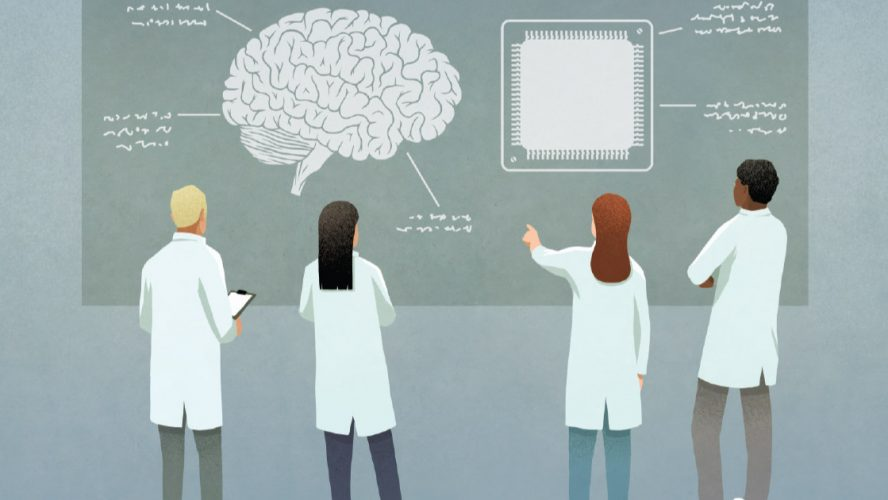 Four scientists discussing brains and microchips