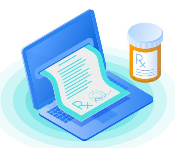 Illustration of a prescription coming out of a computer