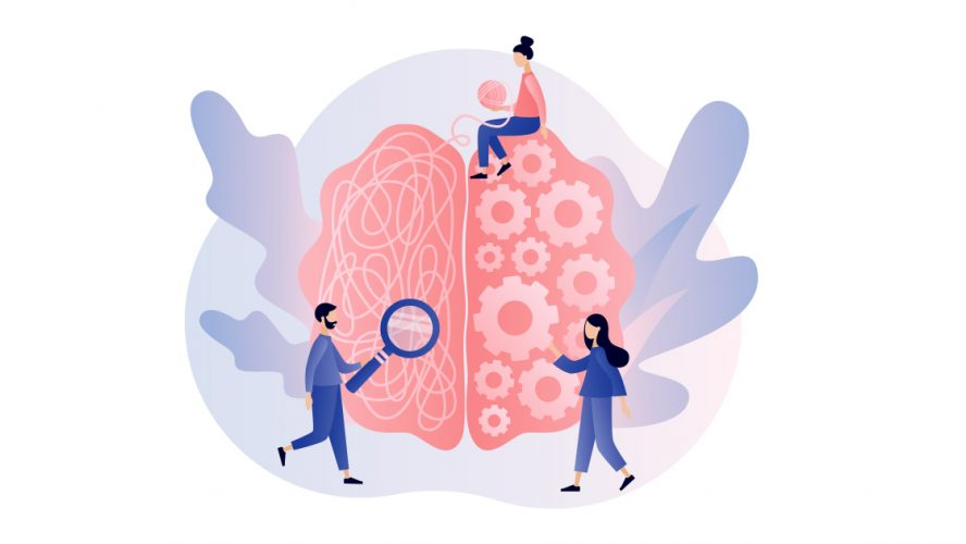 Illustration of people studying someone's brain