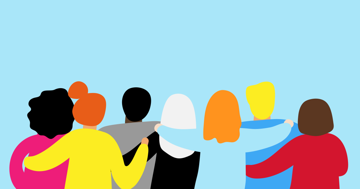 Simple illustrartion of the backs of a line of people with their arms around each other
