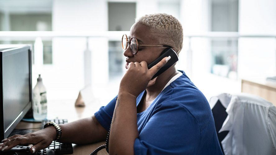 Woman providing mental health support over the phone