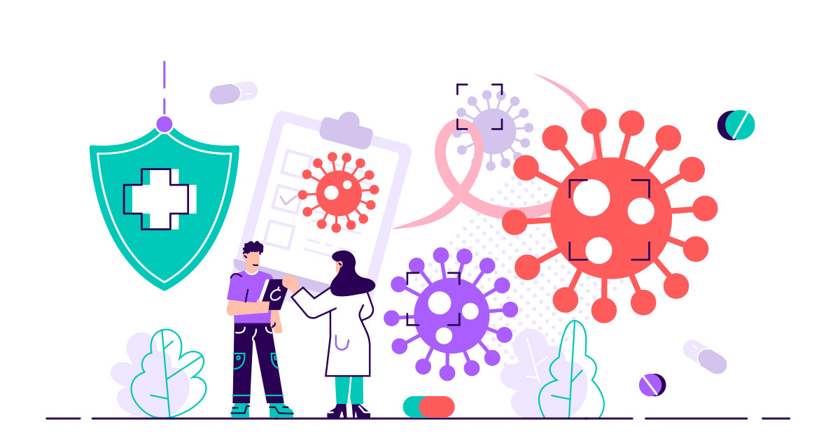 Cartoonish illustration of cancer researchers
