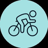 Person riding a bike illustration