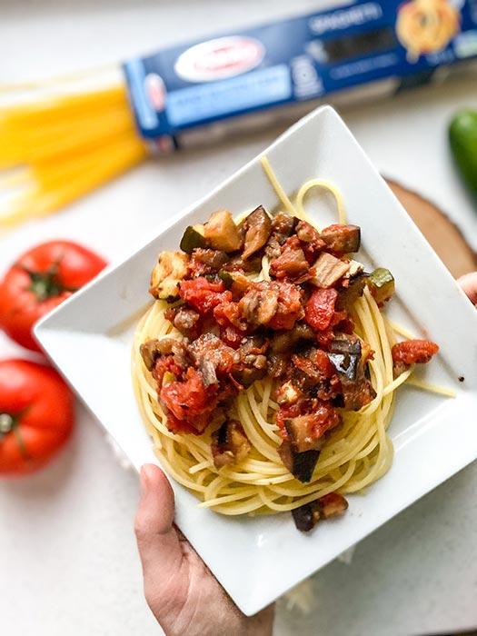 Eggplant and Zucchini Pasta with Barilla Gluten-Free Spaghetti
