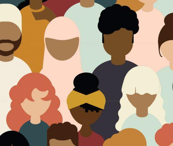 Flat illustration of diverse people