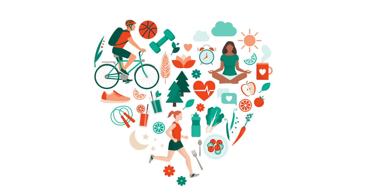 Heart-shaped illustration depicting different ways of living healthy