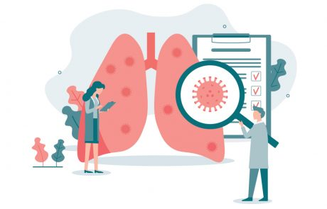 Illustrarion of two doctors inspecting a pair of lungs