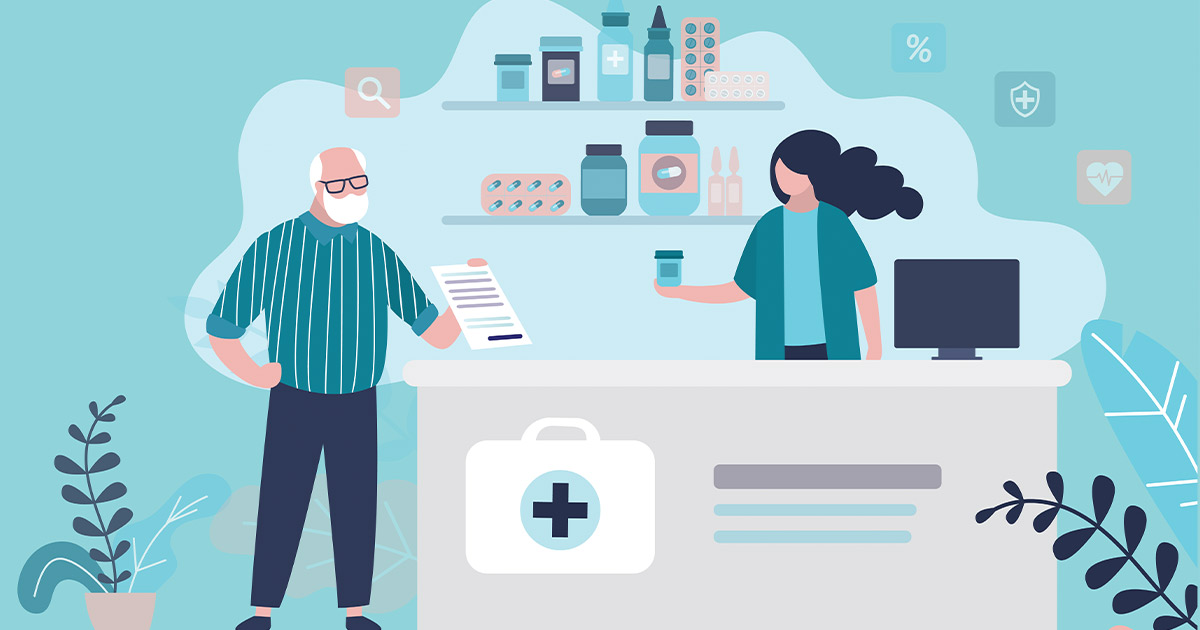 Illustration of a man giving a pharmacist a prescription