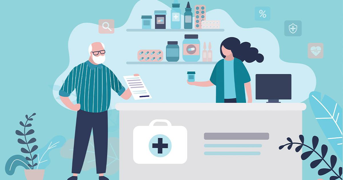 Illustration of a man giving a pharmacist a prescription
