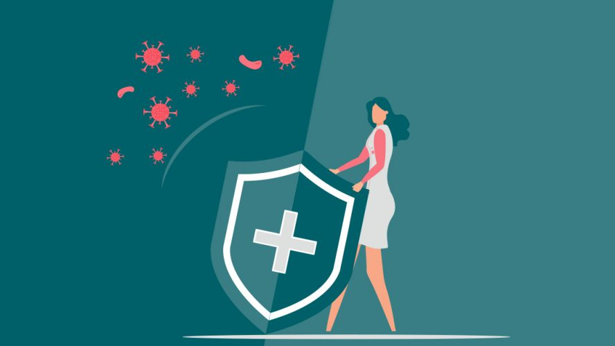 Illustration of woman holding up shield in front of virus particles