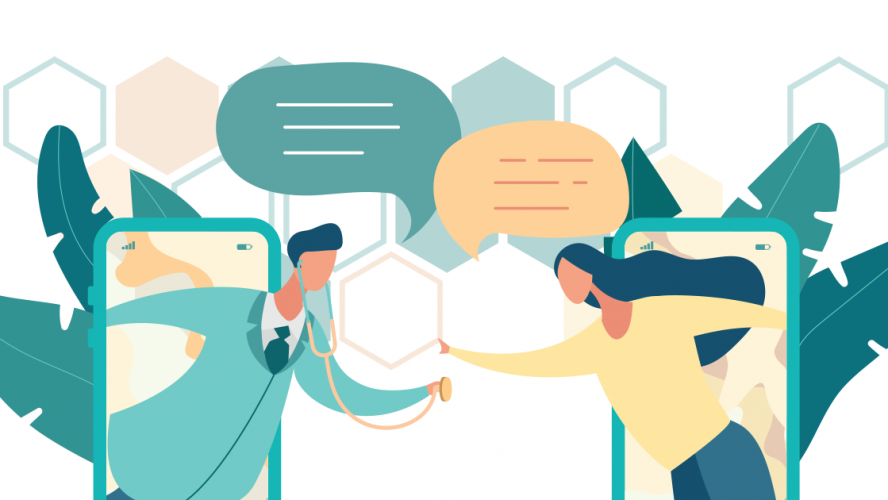 Illustration of doctor and patient reaching through smartphones to converse