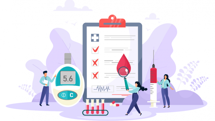 Illustration of tiny people working with large diabetes management tools