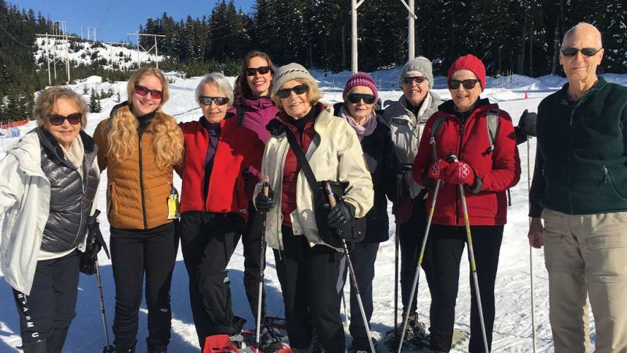 Tapestry residents snowshoeing in Vancouver's local mountains