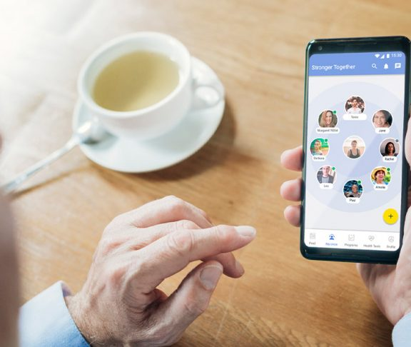 Person using the Stronger Together app on their phone