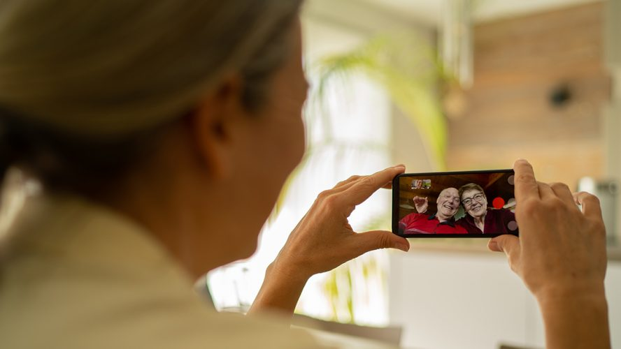 Woman enjoying video call on her smartphone