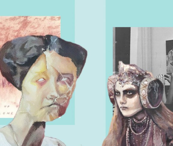 Collage of Rebecca Van Fraassen's art