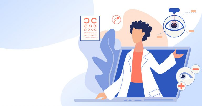 Drawing of an optometrist emerging from a laptop