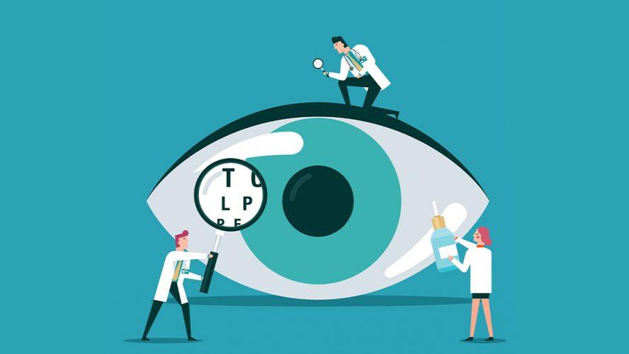 Drawing of three tiny optometrists inspecting an eye