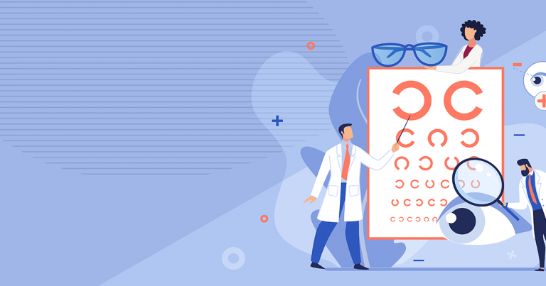 Illustration of Optometrists with Eye Chart