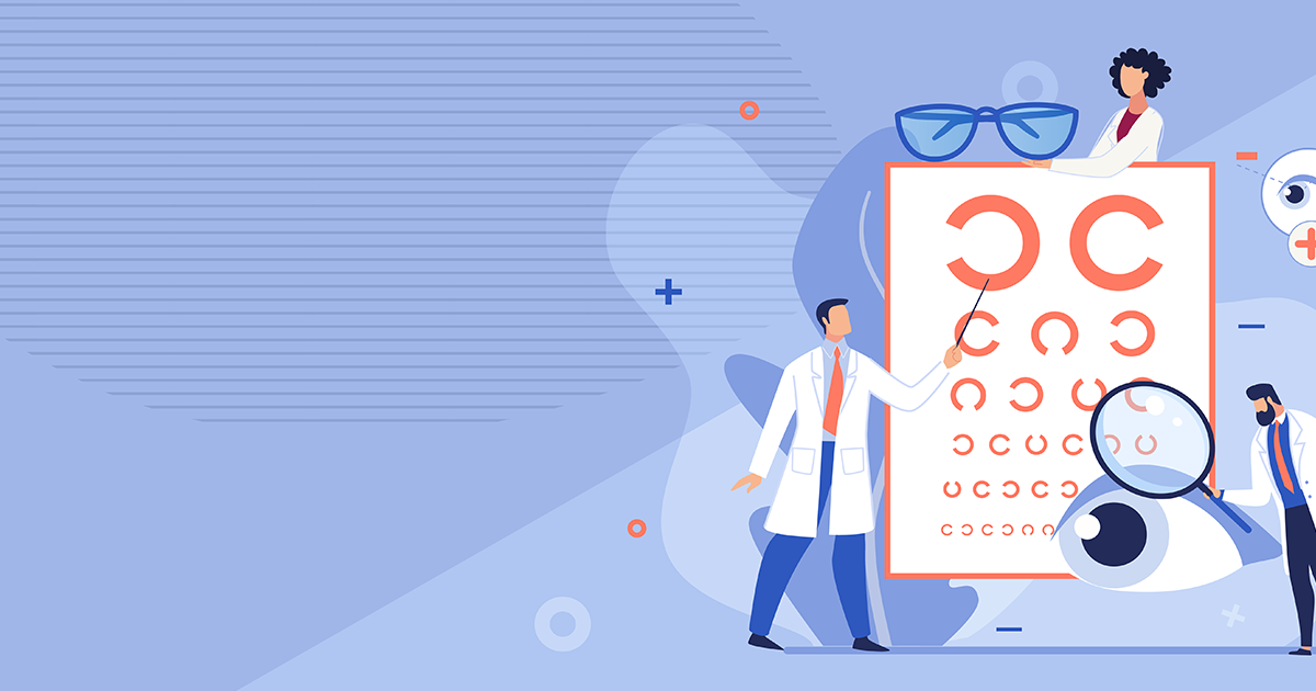 Illustration of Optometrists with Eye Chart