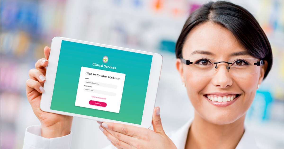 A pharmacist with a tablet showing the account signup page
