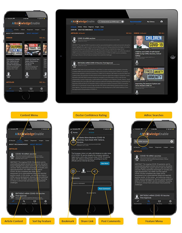 A screen shot of how the AIKnowledgeEnableTM' app looks like on device