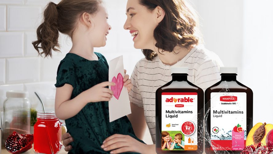 An ad for Wampole multivitamins liquid-A mother and a daughter laughing in the background
