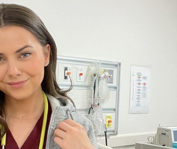 Barbara Olas in a patient ward