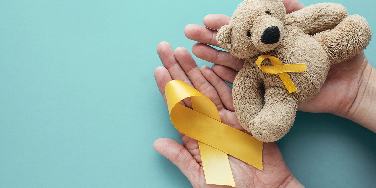 Cancer Ribbon, Bear, And Hands