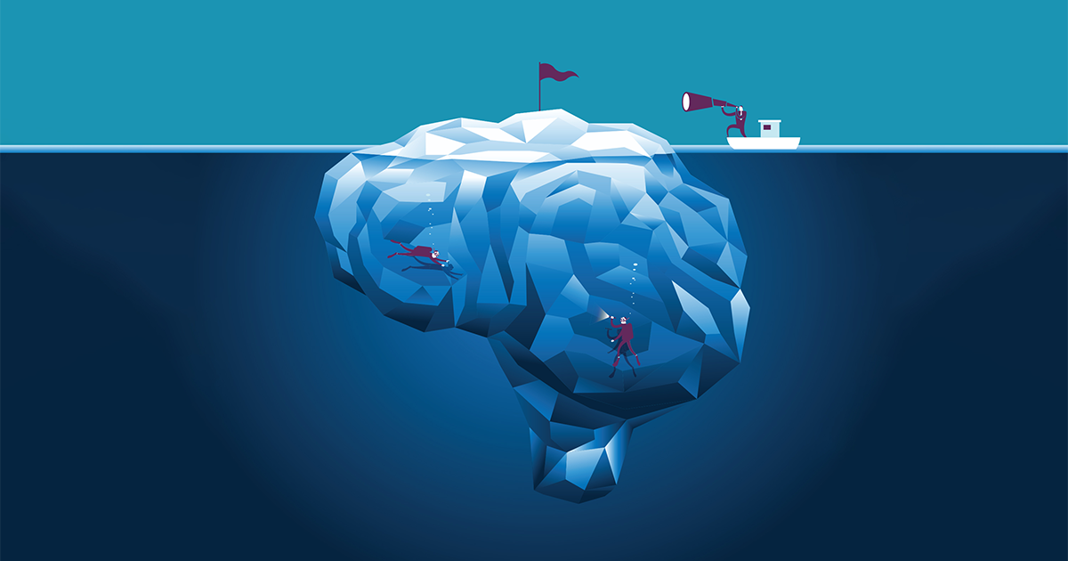 Cartoon of Brain as Iceberg