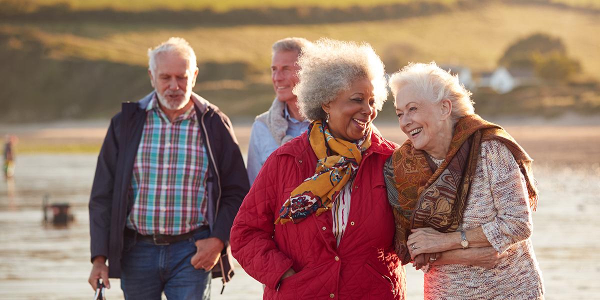 Elderly Friends Walking