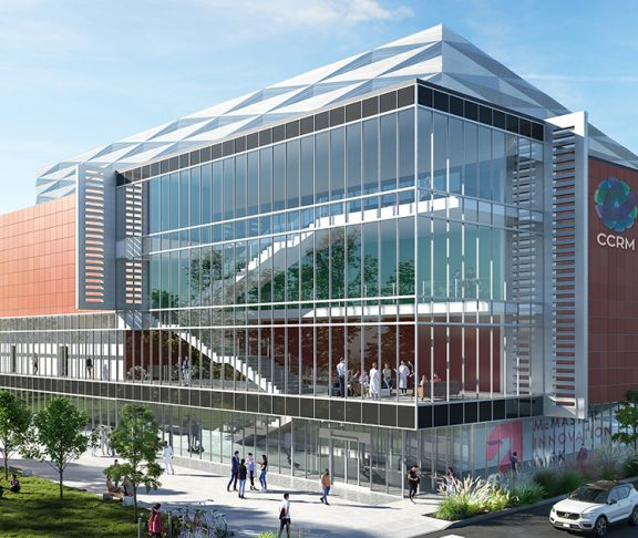 A rendering of CCRM's commercial-scale facility to be built at McMaster Innovation Park in Hamilton