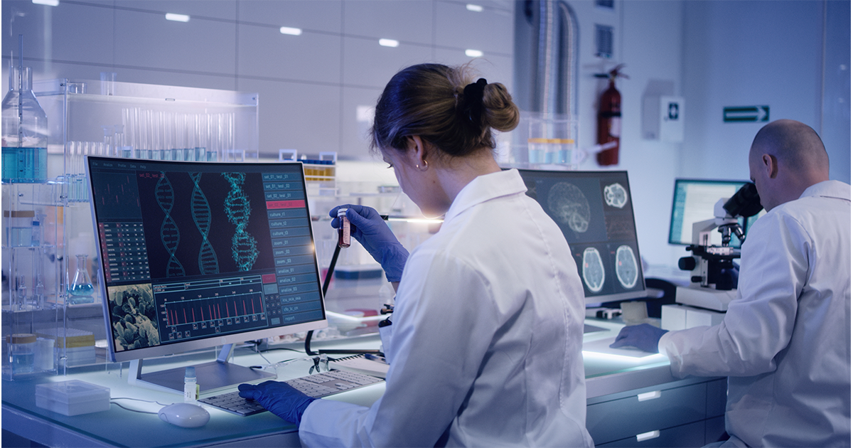 Woman In Lab Analyzing Samples
